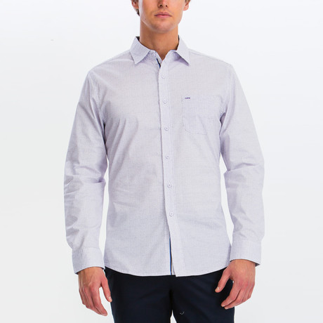 Eric Slim Fit Long Sleeve Button Down Shirt // White + Lavender (S)