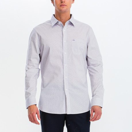Dylan Slim Fit Long Sleeve Button Down Shirt // White + Lavender (S)