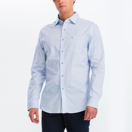 Charlie Slim Fit Long Sleeve Button Down Shirt // White + Sky Blue (S)