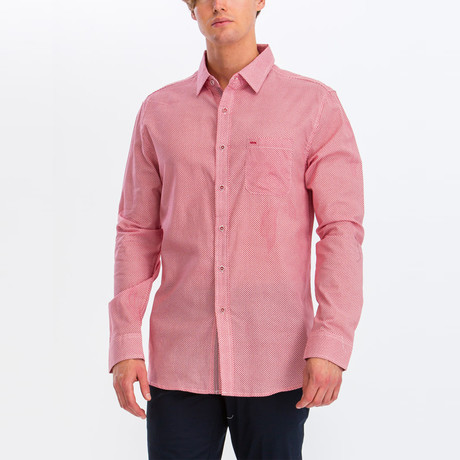 Leon Slim Fit Long Sleeve Button Down Shirt // Red (S)