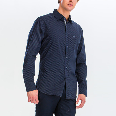 Jesse Slim Fit Long Sleeve Button Down Shirt // Navy (S)