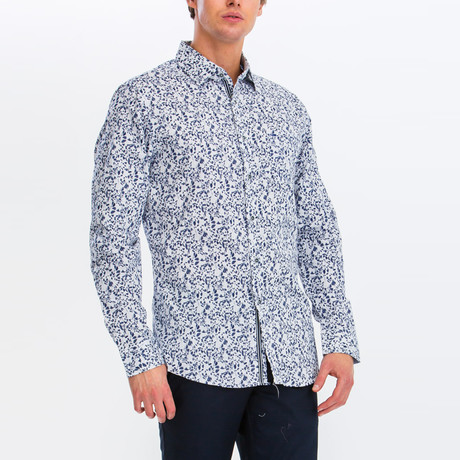 Jacob Slim Fit Long Sleeve Button Down Shirt // White + Blue Leaf (S)