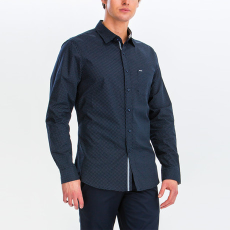Alberto Slim Fit Long Sleeve Button Down Shirt // Midnight Navy (S)