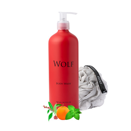 Body Wash With Loofah (Sandalwood, Orange, Peppermint)