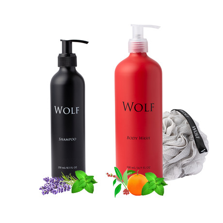 Shampoo + Body Wash Bundle With Loofah (Scented)