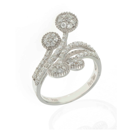 Piero Milano 18k White Gold Diamond Statement Ring // Ring Size: 7
