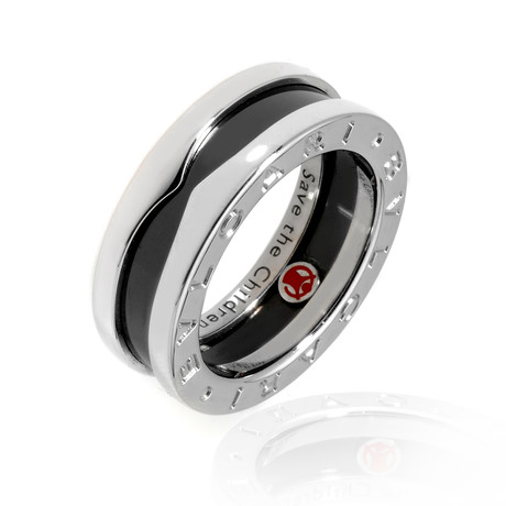 Bulgari Sterling Silver + Ceramic Save The Children Ring (Ring Size: 5)