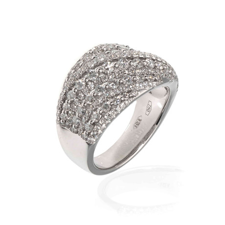 Piero Milano 18k White Gold Diamond Ring // Ring Size: 6.5