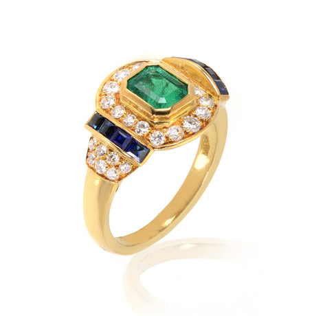 Piero Milano 18k Yellow Gold Diamond + Emerald Ring // Ring Size: 6.5