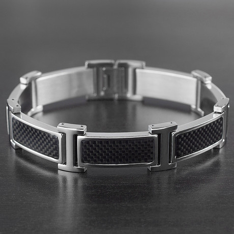 Crucible Inlay Link Bracelet // Black + Silver