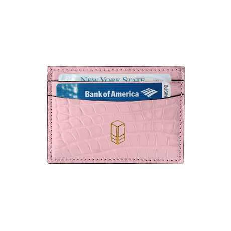 Elemnt // Embossed Leather Card Holder // Pink