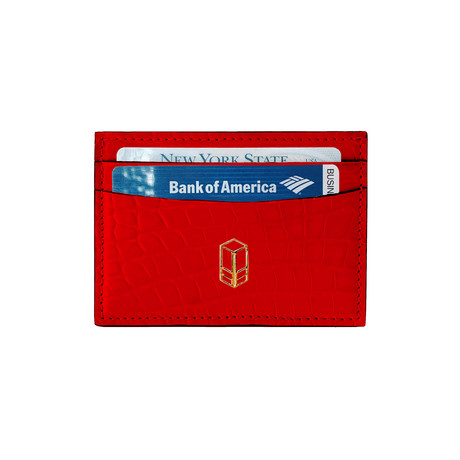 Elemnt // Embossed Leather Card Holder // Red