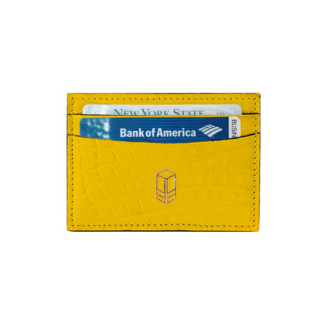 Elemnt // Embossed Leather Card Holder // Yellow