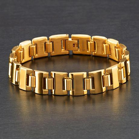 Dual Finish Cylinder Link Bracelet (Silver)