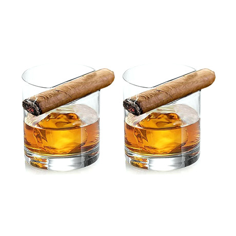 Cigar Holder Whiskey Glasses // Set of 2