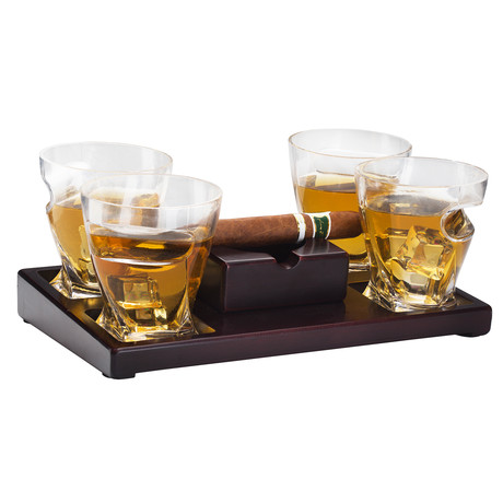 Cigar Holder + Whiskey Glasses Set // Set of 4 + Ash Tray