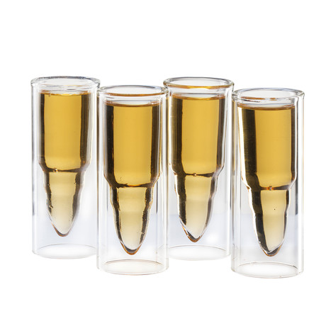 50 Caliber Bullet Shaped Shot Glasses // Set of 4