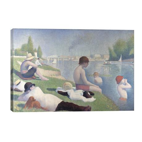 "Bathers at Asnieres 1884 // Georges Seurat (40""W x 26""H x 1.5""D)"