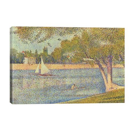 """Banks of Seine (Seine at Grande Jatte) (Die Seine an der Grand JatteFrühling) // Georges Seurat (40""""W x 26""""H x 1.5""""D)"""