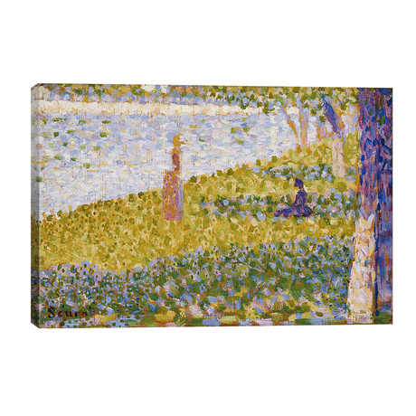 """Women on the River Bank, c.1884-85 // Georges Seurat (40""""W x 26""""H x 1.5""""D)"""