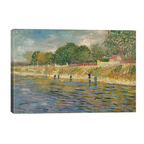 "Bank Of The Seine, 1887 // Vincent van Gogh (40""W x 26""H x 1.5""D)"