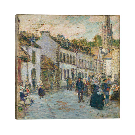 """Street in Pont Aven - Evening, 1897 // Childe Hassam (26""""W x 26""""H x 1.5""""D)"""