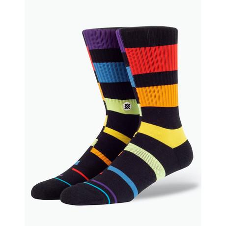Rainbow Stripe Socks // Black // 6-Pack (M)