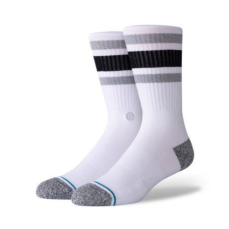 Boyd St Socks // White + Black // 6-Pack (M)