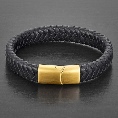 Wide Leather + Slide Lock Clasp Bracelet (Black)