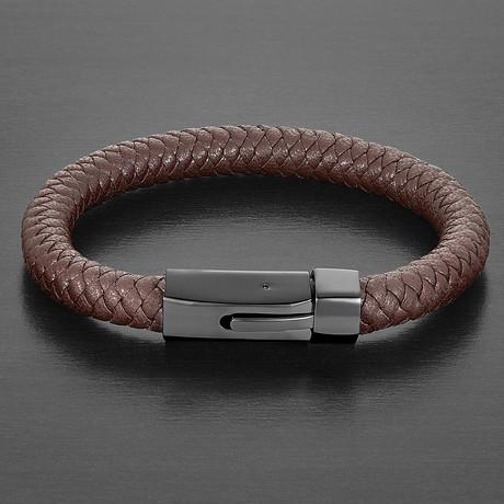 Thick Leather + Spring Lock Clasp Bracelet (Blue + Black)
