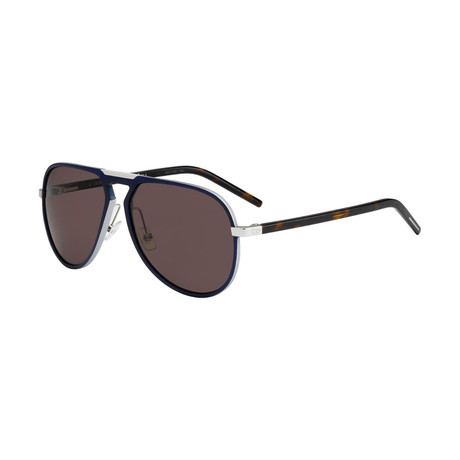 Men's AL13.2 Aviator Sunglasses // Matte Silver + Havana + Brown
