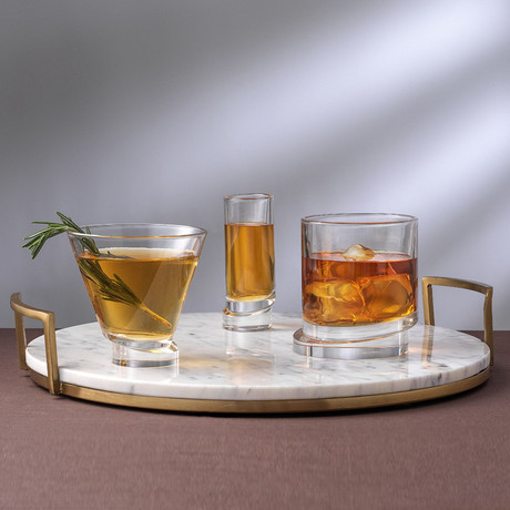 Round Collection // Set of 2 Whiskey + 2 Martini + 4 Shot Glasses