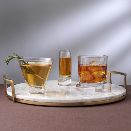 Octagon Collection // Set of 2 Whiskey + 2 Martini + 4 Shot Glasses