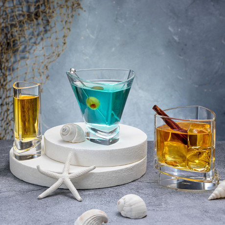 Triangle Collection // Set of 2 Whiskey + 2 Martini + 4 Shot Glasses