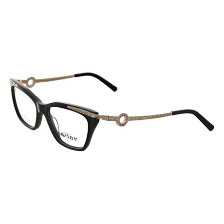 Caviar // Women's Square Optical Frames V1 // Black + Gold