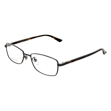 Gucci // Men's Rectangle Optical Frames // Ruthenium + Havana