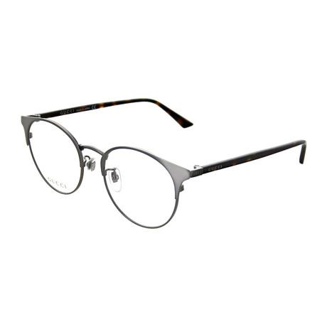 Gucci // Unisex Round Optical Frames // Ruthenium + Brown