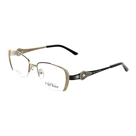 Caviar // Women's Square Optical Frames V2 // Black + Gold