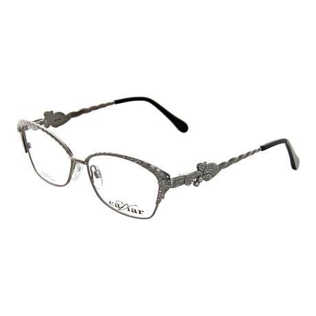 Caviar // Women's Rectangle Optical Frames // Silver + Clear Crystal