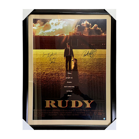 Sean Astin + Rudy Ruettiger // Rudy // Framed Autographed Movie Poster