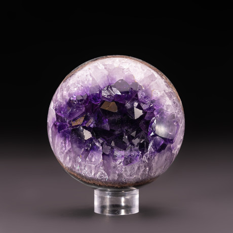 Amethyst Geode Sphere + Acrylic Display Stand v.6
