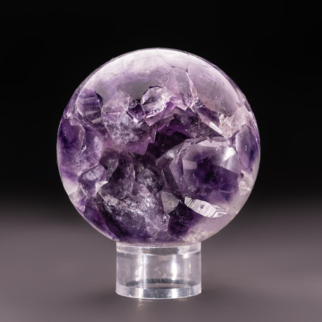 Amethyst Geode Sphere + Acrylic Display Stand v.4