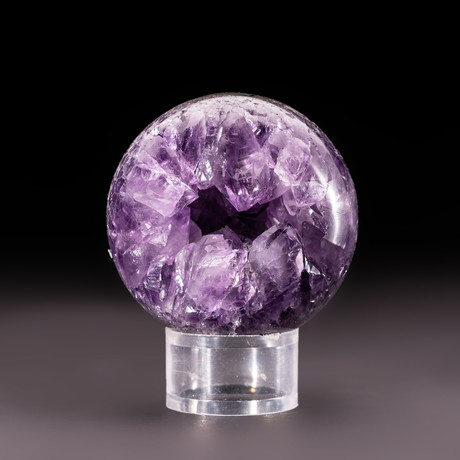 Amethyst Geode Sphere + Acrylic Display Stand v.7