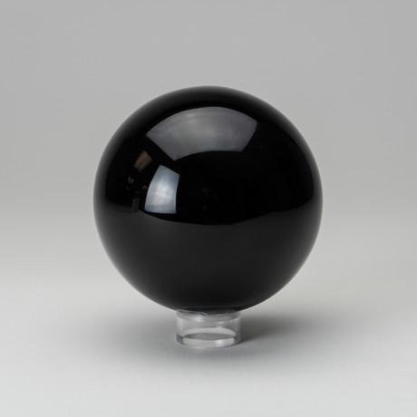 Black Obsidian Sphere + Acrylic Display Stand v.2