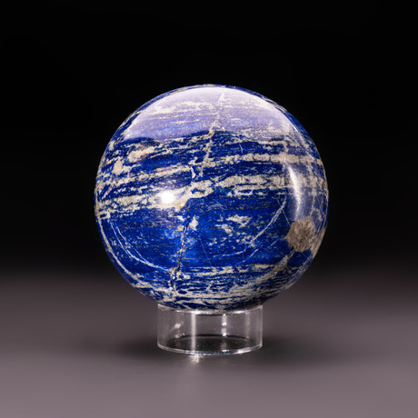 Lapis Lazuli Sphere + Acrylic Display Stand v.2