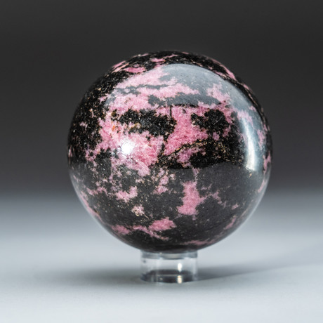 Imperial Rhodonite Sphere + Acrylic Display Stand v.3
