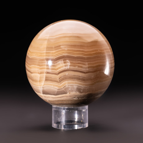 Natural Banded Onyx Sphere + Acrylic Display Stand