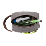 Canvas + Buffalo Leather Dopp Kit // Brown