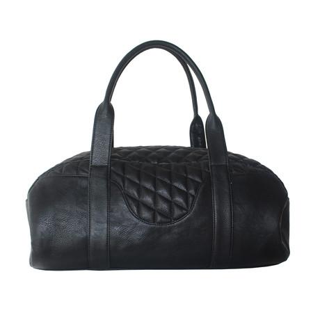 Zig Zag Cow Hide Duffel Bag // Black
