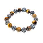 Dell Arte // Engraved Mantra Bracelet // Silver + Brown